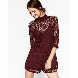 Zara Pants - Zara Guipure Lace Dark Aubergine Romper Size M